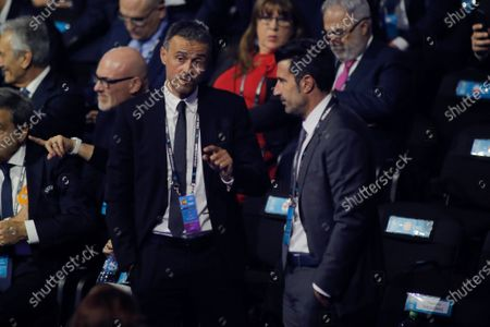 Head coach of Spain Luis Enrique (L) and Former Portuguese soccer player Luis Figo arrive for the UEFA EURO 2020 final draw in Bucharest, Romania, 30 November 2019.