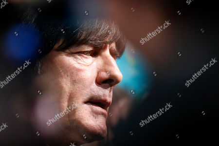 Germany coach Joachim Loew talks to journalists after the draw for the UEFA Euro 2020 soccer tournament finals in Bucharest, Romania