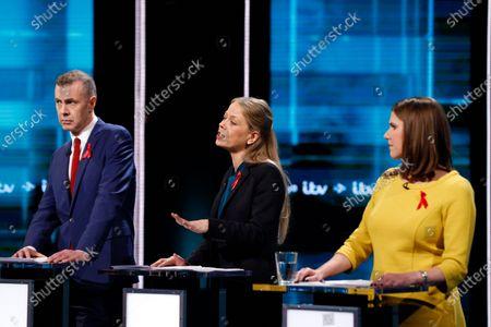 Stock Photo of Playd Cymru Adam Price, Green Party Sian Berry, Liberal Democrat Jo Swinson