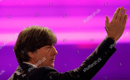 Stock Image of Germany coach Joachim Loew arrives for the draw for the UEFA Euro 2020 soccer tournament finals in Bucharest, Romania