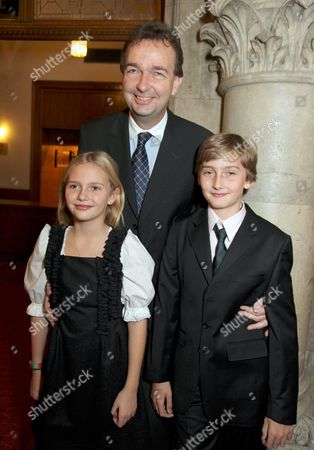 Karl Habsburg Lothringen with daughter Gloria and son Ferdinand
