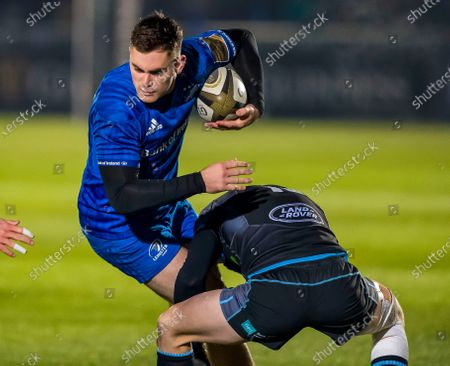 Glasgow Warriors vs Leinster. Leinster's Conor O'Brien is tackled by Peter Horne of Glasgow