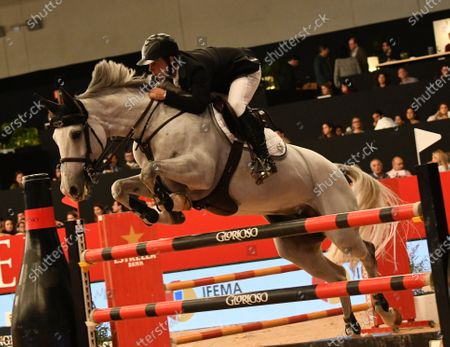 Spanish rider Sergio Alvarez Moya in action during the Jumping Competition Universidad Alfonso X El Sabio trophy, during the Madrid Horse Week held in Madrid, Spain, 30 November 2019.