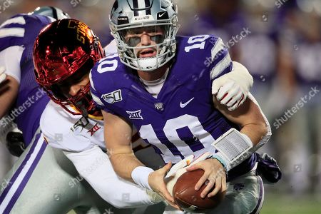 Skylar Thompson, Will McDonald. Kansas State quarterback Skylar Thompson (10) is sacked by Iowa State linebacker Will McDonald, left, during the first half of an NCAA college football game in Manhattan, Kan