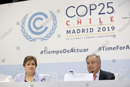 UN Secretary General Antonio Guterres (R) and Patricia Espinosa (L), United Nations Framework Convention on Climate Change (UNFCCC) Executive Secretary, address a press conference about the COP25 Climate Summit in Madrid, Spain, 01 December 2019. The UN Climate Change Conference COP25 will run from 02 to 13 December 2019 in the Spanish capital.