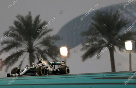 Stock Image of Finnish Formula One driver Valtteri Bottas of Mercedes AMG GP steers his car during the Abu Dhabi Formula 1 Grand Prix 2019 in Abu Dhabi, United Arab Emirates, 01 December 2019.