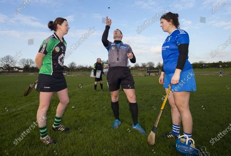 Stock Image of Clanmaurice (Kerry) vs Raharney (Westmeath). Clanmaurice's Liz Houlihan with Referee Paul Ryan and Raharney's Rachel O'Malley during the coin toss