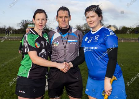 Clanmaurice (Kerry) vs Raharney (Westmeath). Clanmaurice's Liz Houlihan with Referee Paul Ryan and Raharney's Rachel O'Malley
