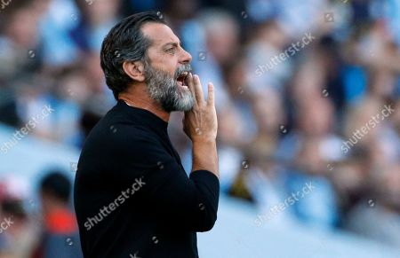 Stock Picture of Watford's head coach Quique Sanchez Flores shouts during the English Premier League soccer match between Manchester City and Watford at Etihad stadium in Manchester, England. Flores was fired Sunday Dec. 1, 2019, with Watford in last place in the Premier League and having won just one match in 14 this campaign