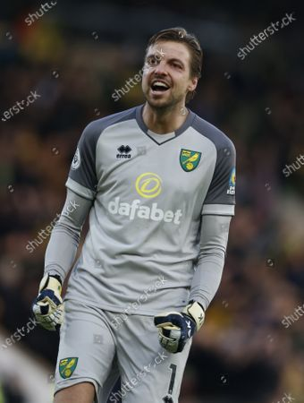 Stock Picture of Tim Krul the Norwich City goalkeeper celebrates his team's 2nd goal