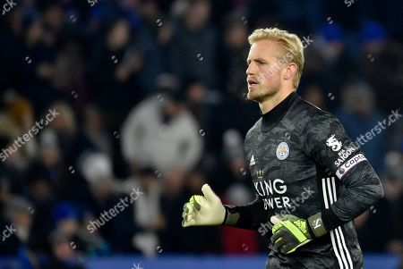 Leicester's goalkeeper Kasper Schmeichel runs during the English Premier League soccer match between Leicester City and Everton at the King Power Stadium in Leicester, England