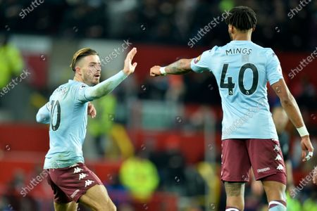 Aston Villa's Tyrone Mings (R) reacts after scoring with team mate Jack Grealish (L) during the English Premier League soccer match between Manchester United and Aston Villa at Old Trafford, Manchester, Britain, 01 December 2019.