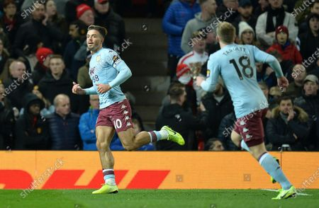 Aston Villa's Jack Grealish (L) reacts after scoring the 1-0 lead during the English Premier League soccer match between Manchester United and Aston Villa at Old Trafford, Manchester, Britain, 01 December 2019.