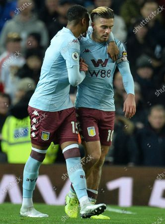 Aston Villa's Jack Grealish (R) reacts with team mate Ezri Konsa (L) after scoring the 1-0 lead during the English Premier League soccer match between Manchester United and Aston Villa at Old Trafford, Manchester, Britain, 01 December 2019.