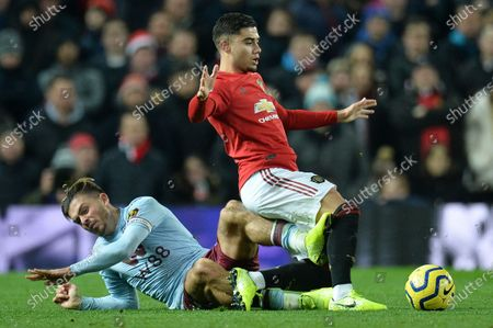 Manchester United's Andreas Pereira (R) and Aston Villa's Jack Grealish (L) in action during the English Premier League soccer match between Manchester United and Aston Villa at Old Trafford, Manchester, Britain, 01 December 2019.