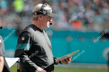 Douh Pederson. Philadelphia Eagles head coach Doug Pederson watched the game, during the first half at an NFL football game against the Miami Dolphins, in Miami Gardens, Fla