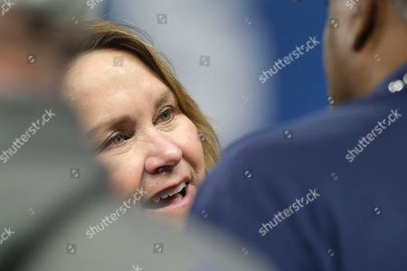Tennessee Titans owner Amy Adams Strunk on the field before an NFL football game against the Indianapolis Colts in Indianapolis