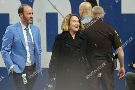Tennessee Titans owner Amy Adams Strunk walks to the field before an NFL football game against the Indianapolis Colts in Indianapolis