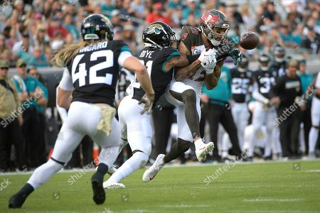 Jacksonville Jaguars cornerback A.J. Bouye (21) breaks up a pass intended for Tampa Bay Buccaneers wide receiver Mike Evans (13) during the first half of an NFL football game, in Jacksonville, Fla