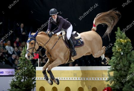 Jessica Springsteen of the USA with the horse Volage du Val Henry during the grand prix jump competition at the Sweden International Horse Show in the Friends arena in Stockholm- Solna, Sweden, 01 December 2019.