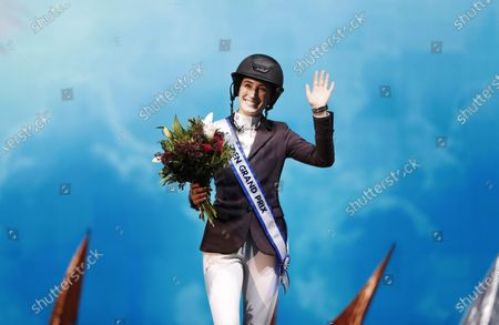 Jessica Springsteen of the USA celebrates after winning the grand prix jump competition at the Sweden International Horse Show in the Friends arena in Stockholm- Solna, Sweden, 01 December 2019.