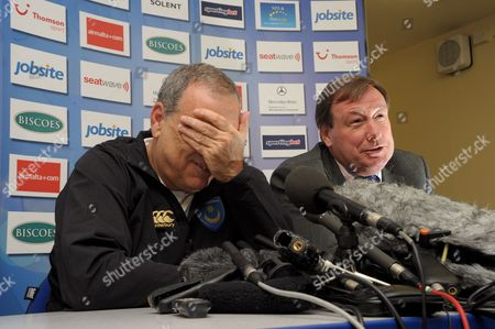 Portsmouth manager, Avram Grant and Chief Executive Peter Storrie.