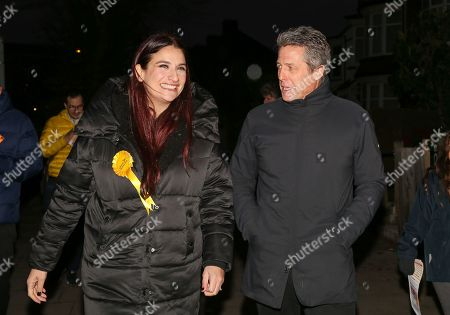 Luciana Berger and Hugh Grant canvassing in Finchley, North London.