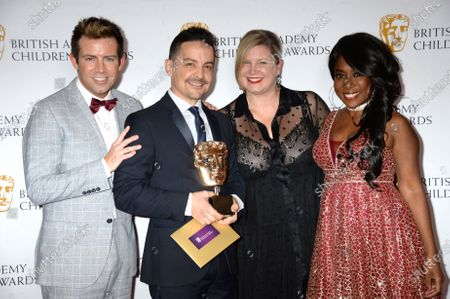 Stock Image of Derek Moran and Kemi Majeks with Mark De Angelis and guest. Creators of 'Odd Squad' winner of The International Live Action Award