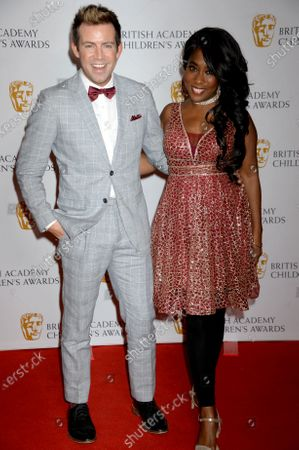 Derek Moran and Kemi Majeks presenters of The Pre-School Live Action and International Live Action Awards