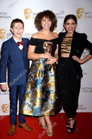 Jack Hassard and Lauren Layfield with Emily Burnett, winner of The Performer Award