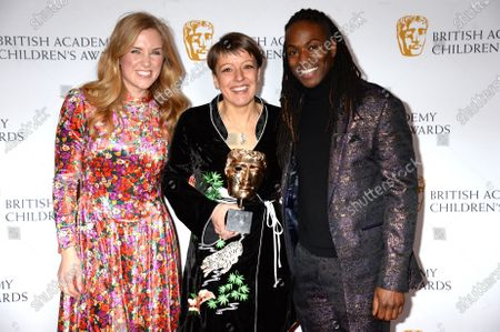 Nigel Clarke, Maddie Moate and Alice Webb representing CBBC, Winner of The Channel of The Year Award