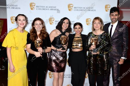 Jess Ransom and Richard David-Caine with Charlotte Ingham, Jennifer Morrison, Lauren Layfield and Annette Williams representing 'The Designers' winner of the Factual Entertainment Award