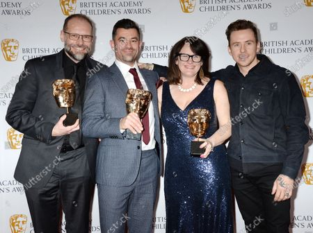 Danny Jones, Simon Welton, Roman Green and Sarah Clarke creators of 'Play Your Pets Right' - Winner of The Entertainment Award