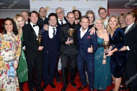 Stock Image of Sam Nixon, Mark Rhodes Simon Welton, Lisa Mitchell, Matt Lamont and the production team for Horrible Histories, Winners of the Comedy Award