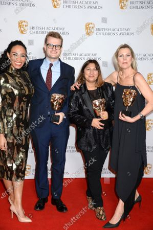 Michelle Ackerley with David Metcalf, Nav Raman and Ali Quirk and members of the production team for 'Leaving Care' - Winner of the Content for Change Award