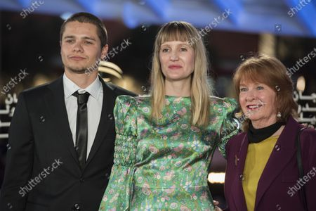 Shannon Murphy (C), British actor Toby Wallace (L) and guest attend the tribute to French filmmaker Bertrand Tavernier (unseen) at the 18th annual Marrakech International Film Festival, in Marrakech, Morocco, 01 December 2019. The film festival runs from 29 November to 07 December 2019.