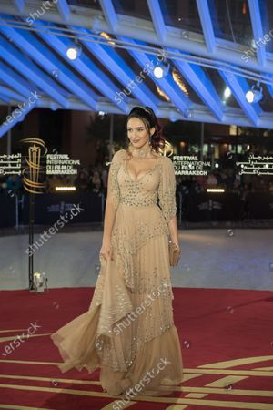 Delphine Wespiser attends the tribute to French filmmaker Bertrand Tavernier (unseen) at the 18th annual Marrakech International Film Festival, in Marrakech, Morocco, 01 December 2019. The film festival runs from 29 November to 07 December 2019.