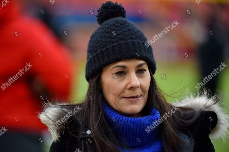 Stock Picture of CBS Sports reporter Tracy Wolfson before an NFL football game between the Kansas City Chiefs and the Oakland Raiders, in Kansas City, Mo