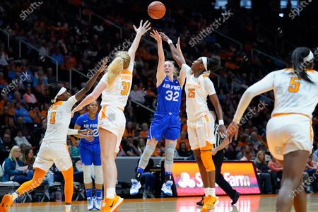 Kaelin Immel #32 of the Air Force Falcons shoots the ball over Jordan Horston #25 and Emily Saunders #31 of the Tennessee Lady Vols during the NCAA basketball game between the University of Tennessee Lady Volunteers and the United States Air Force Academy Falcons at Thompson Boling Arena in Knoxville TN Tim Gangloff/CSM