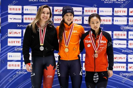 Stock Image of Courtney Lee Sarault of Canada, Suzanne Schulting of Netherlands, Han Yu Tong of China