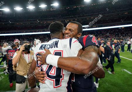 New England Patriots tight end Benjamin Watson (84) and Houston Texans quarterback Deshaun Watson (4) after an NFL football game, in Houston
