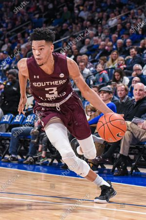 Southern Illinois Salukis guard Ronnie Suggs (3) drives an open lane during a regular season game where the Southern Illinois Salukis visited the St. Louis Billikens. Held at Chaifetz Arena in St. Louis, MO Richard Ulreich/CSM
