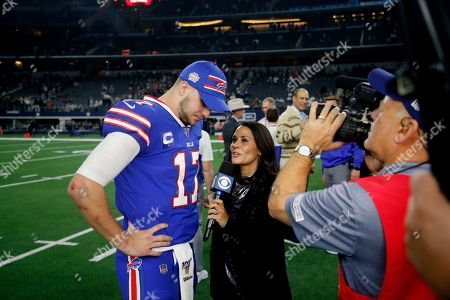 CBS reporter Tracy Wolfson, right, interviews Buffalo Bills' Josh Allen (17) after an NFL football game against the Dallas Cowboys in Arlington, Texas