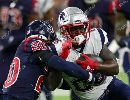 Houston Texans safety Justin Reid (L) puts a stop against New England Patriots running back Sony Michel (R) in the first half of the NFL American Football game between New England Patriots and the Houston Texans at NRG Stadium in Houston, Texas, USA, 01 December 2019.