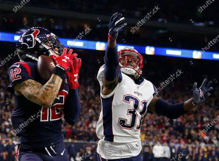 Houston Texans wide receiver Kenny Stills (L) catches the ball for a touchdown, while being covered by New England Patriots cornerback Jonathan Jones (R) in the second half of the NFL American Football game between New England Patriots and the Houston Texans at NRG Stadium in Houston, Texas, USA, 01 December 2019.