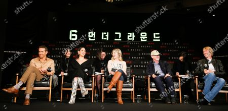 Ryan Reynolds, US actress Adria Arjona, French actress Melanie Laurent, Producer Ian Bryce, and US director Michael Bay attend a press conference for the premiere of the movie '6 Underground' at a hotel in Seoul, South Korea, 02 December 2019. The movie will open in South Korean theaters on 13 December 2019.