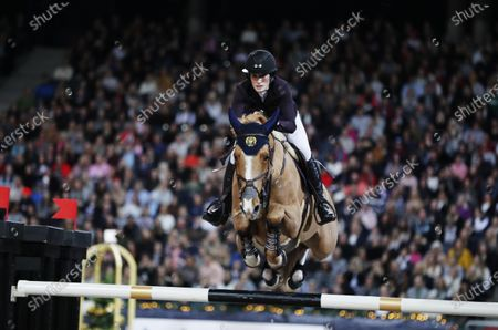 Stock Image of Jessica Springsteen with the horse Volage du Val Henry during Sunday's grand prix jumping