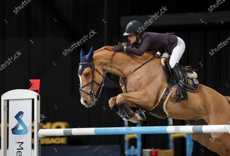 Jessica Springsteen with the horse Volage du Val Henry during Sunday's grand prix jumping