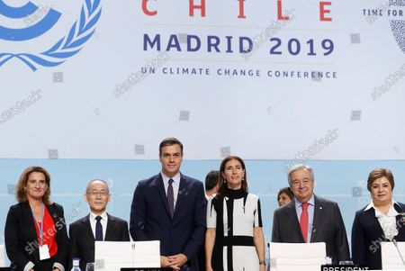 (L-R) Spanish acting Minister for Ecological Transition Teresa Ribera, Chair of the Intergovernmental Panel on Climate Change South Korean Hoesung Lee, Spanish Prime Minister Pedro Sanchez, Chilean Environment Minister and COP25 President Carolina Schmidt, UN Secretary-General Antonio Guterres and Executive Secretary of the United Nations Framework Convention on Climate Change Patricia Espinosa attend the opening ceremony of the COP25 Climate Summit held in Madrid, Spain, 02 December 2019. The UN Climate Change Conference COP25 runs from 02 to 13 December 2019 in the Spanish capital.