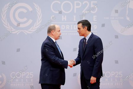 Spanish Prime Minister Pedro Sanchez (R) greets Prince Rainier, Albert II upon his arrival for the opening ceremony of the COP25 Climate Summit held in Madrid, Spain, 02 December 2019. The UN Climate Change Conference COP25 runs from 02 to 13 December 2019 in the Spanish capital.